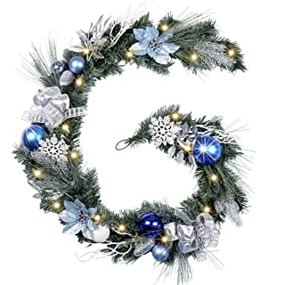 Valery Madelyn Pre-Lit 6 Feet/72 Inch Winter Land Blue Silver Christmas Garland with Ball Ornaments, Snowflakes, Pine Cones, Ribbons and Flowers, Battery Operated 20 LED Lights