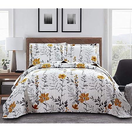 Floral Quilt Set Full/Queen Size Leaf Floral Bedspread Coverlet Lightweight Floral Print Quilt Grey Leaves Bed Set Yellow Floral Bedspread Reversible Flower Quilts Garden Bedspread +2 Pillow Shams