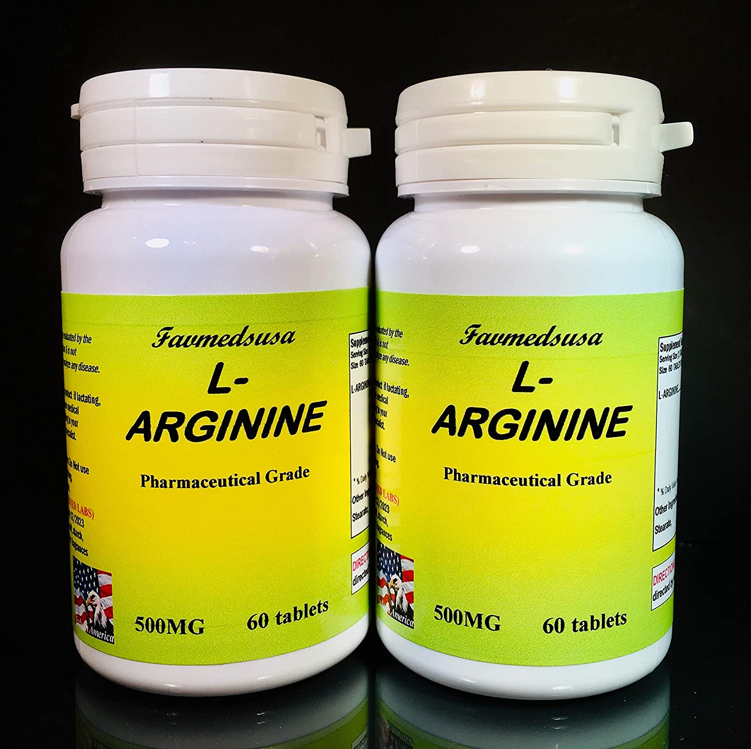 L-arginine L-argenine Limited Same day shipping time for free shipping 500mg Made in - USA 120 2x60 Tablets
