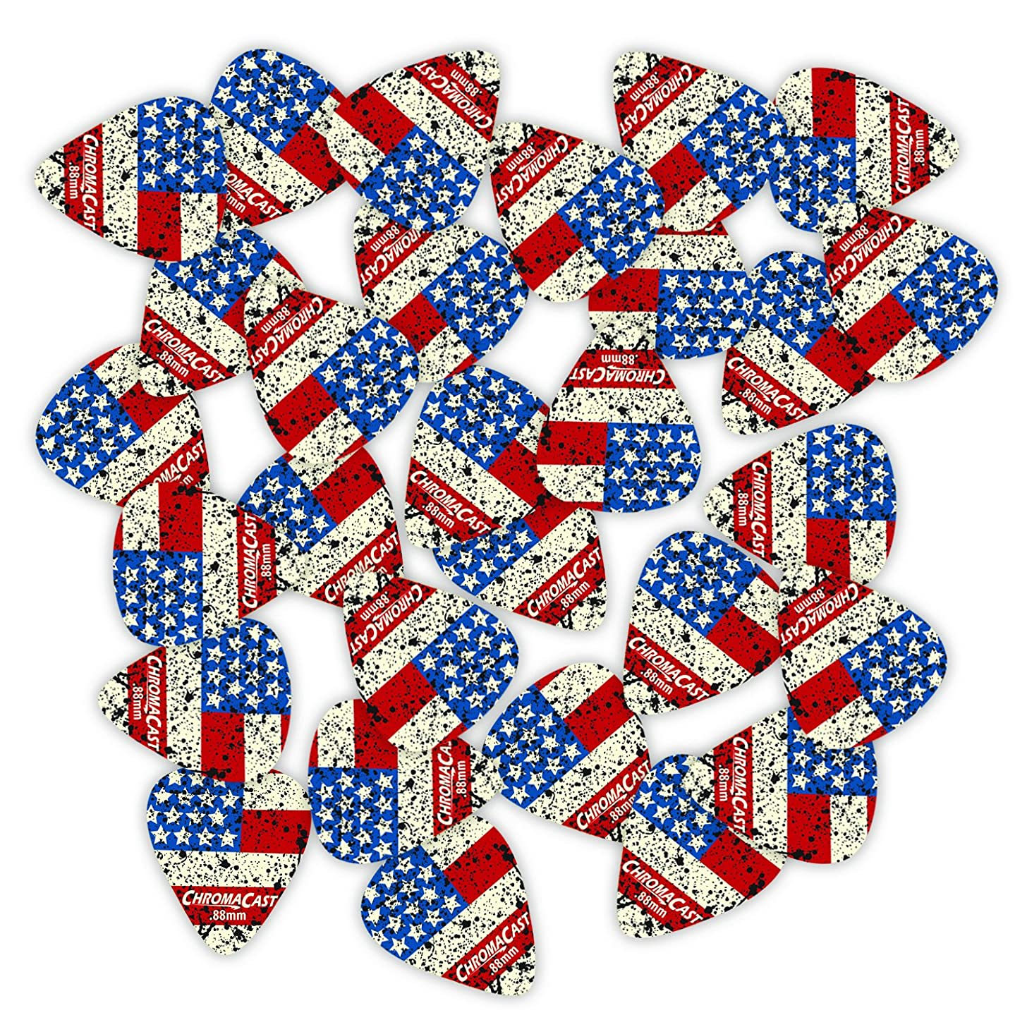 ChromaCast CC-DP-USA-73-30PK Delrin USA Flag Guitar Picks .73mm, 30 Pack, Medium