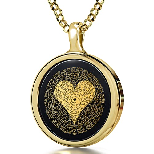 I Love You Necklace 120 Languages Inscribed In 24k Gold On Round Onyx Pendant 18