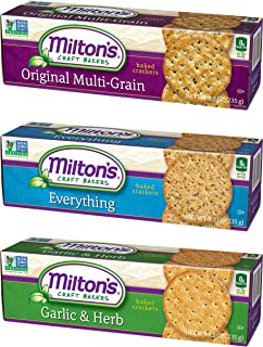 Milton's Gourmet Crackers. Multi-Grain, Everything, and Garlic and Herb Bundle Non-GMO Baked Crackers (3 Flavor Variety Bundle, 8.3 ounce)
