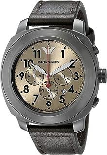 Emporio Armani Sportivo Men's Gold Dial Leather Band Watch - Ar6055, Analog Display, Quartz Movement
