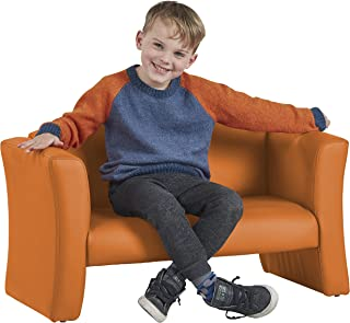 ECR4Kids SoftZone Gum Drop Upholstered Sofa for Kids - Daycare, Homeschool, Classroom Furniture, Home Decor - Orange