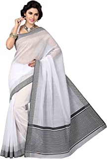 f71d8b50b4 Amazon.in: Whites - Cotton sarees: Clothing & Accessories