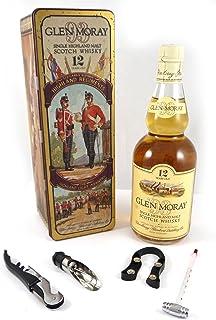 Glen Moray Single Highland Scotch Whisky 12 Year Old Tin Presentation The Highland Light Infantry in einer Geschenkbox, da zu 4 Wein Accessoires, 1 x 700ml