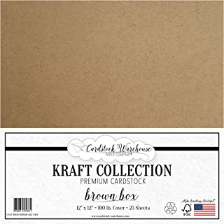 Brown Kraft 100% Recycled Cardstock - 12 x 12 inch - Premium 100 LB. Heavyweight Cover - 25 Sheets from Cardstock Warehouse