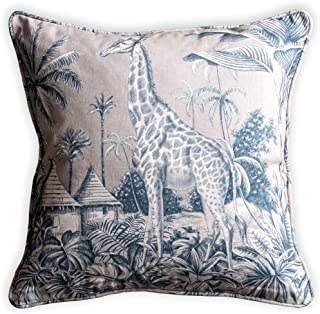 Maison d' Hermine 100% Cotton Savana Jouy - Blue Decorative Pillow Cover for Couch Sofa Cushion Bedroom (Giraffe, 20 Inch ...