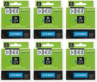 Dymo D1 Standard Tape Cartridge, 1/2in x 23ft, Black on White Tape Cartridge, Pack of 6