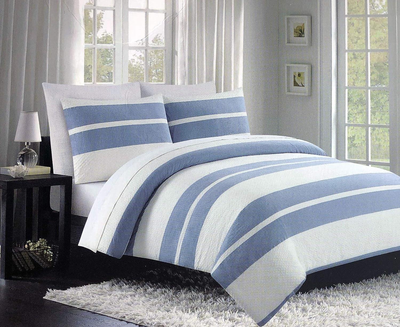 Tahari 3pc King Duvet Cover Set w Shams Retro Pattern Wide bluee and Cream Textured Stripes 100% Cotton Luxury