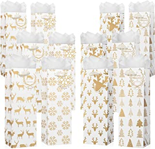 12 Pack Set of Christmas Wine Bottle Bags with Included Tissue Paper – Premium Quality with Handles and Name Cards - 4 Cute Winter Holiday Designs for Wine, Liquor and Beer Bottle Gifts