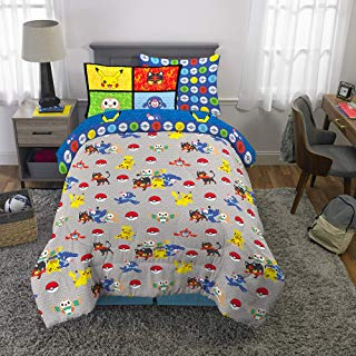 Franco Kids Bedding Super Soft Comforter and Sheet Set with Bonus Sham, 5 Piece Twin Size, Pokemon
