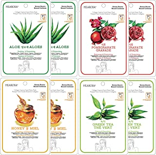 MEAROSA Korean skin care Vitamin C Collagen Essence Facial Sheet Masks Premium Quality Sensitive Skin (8 Sheets Variety pack)