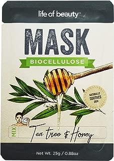Life of Beauty Tea Tree and Honey Facial Sheet Mask Set - Bio Cellulose Korean Face Masks - Soothing Face Mask (Tea Tree and Honey, Single Pack)