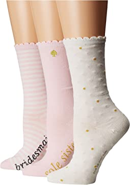 Kate Spade New York - 3-Pack Boxed Bridesmaid Crew Socks