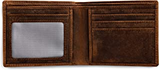 Rugged Authority Brown Mens Leather Bifold Wallet with RFID Blocking Theft Protection, 5 Card Wallet Slots & ID Window. Sl...