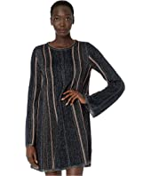 M Missoni - Long Sleeve Short Dress in Chenille Stripe with Lurex
