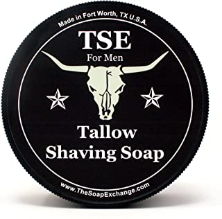 TSE for Men Barbershop Shaving Soap with Tallow and Shea Butter. Natural Ingredients for Rich Lather and a Smooth Comfortable Shave. Artisan 4.5 oz Semi-Soft Italian Style. Made in the USA.