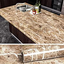 VEELIKE Faux Marble Counter Top Covers Peel and Stick Wallpaper Granite Contact Paper Decorative Kitchen Wall Paper Brown ...