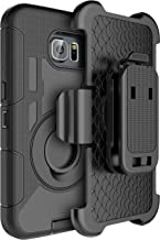 E LV Galaxy S6 Edge Plus Case Holster Dual Layer Armor Defender Protective Case Cover with Kickstand and Belt Swivel Clip for Samsung Galaxy S6 Edge Plus case - Black