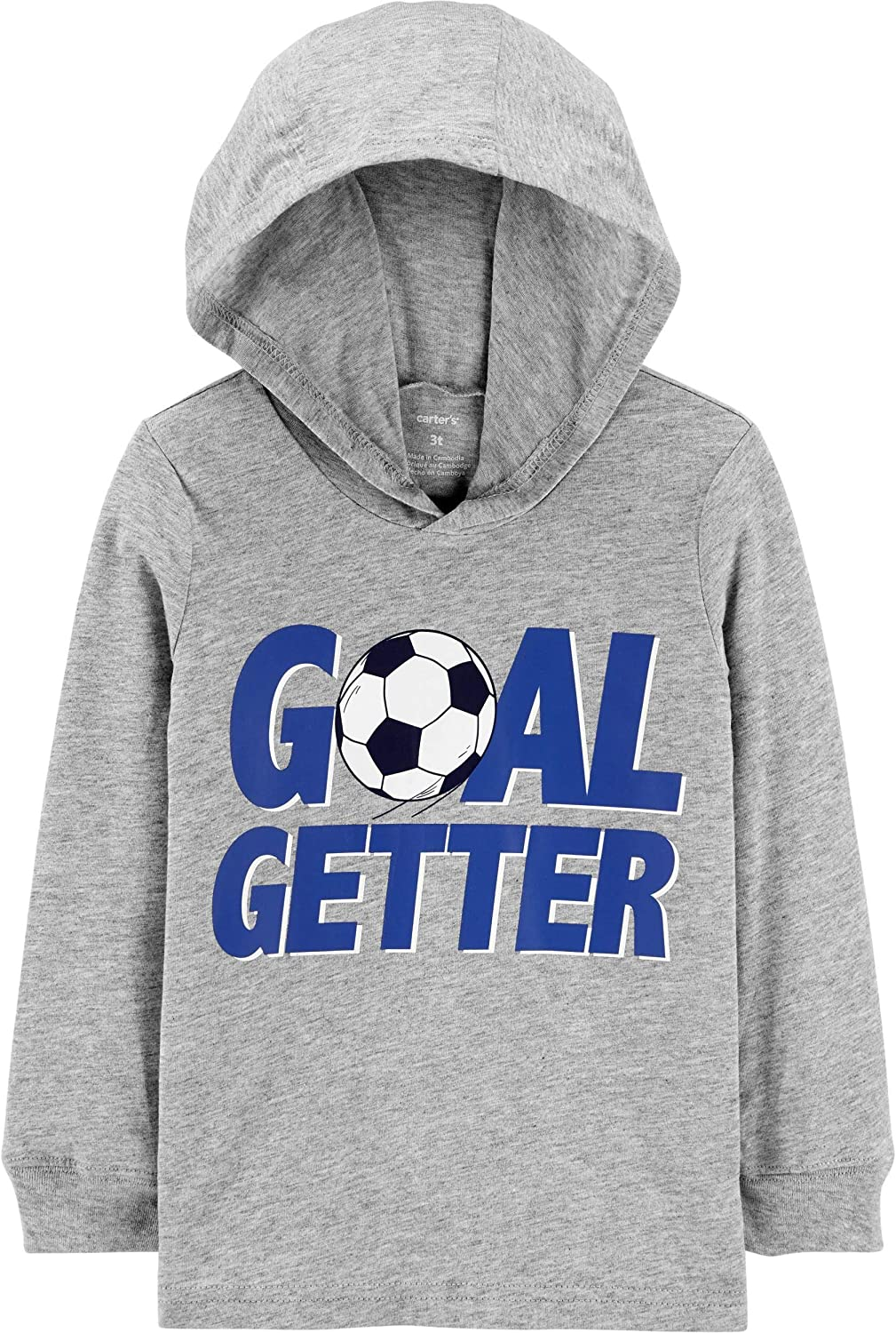 Carter's Boys Glow-In-The-Dark Goal Getter Soccer Ball Hooded Jersey Tee Pullover Gray Long Sleeve, 24 Months