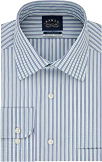Eagle Men's Non Iron Stretch Collar Regular Fit Stripe Dress Shirt
