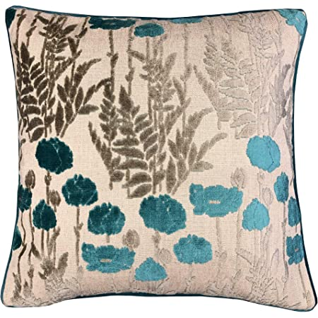Amazon Com Rodeo Home Camelia Decorative Floral Cut Velvet Square Throw Pillow With 100 Feather Fill Insert For Sofa Couch Bed 23 X23 Turquoise 23x23 Home Kitchen