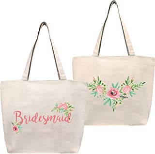Bride or Bridesmaid Tote Bag with Two Sided Floral Design and Zipper