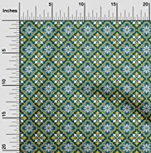 oneOone Velvet Teal Green Fabric Floral & Tiles Moroccan Dress Material Fabric Print Fabric by The Yard 58 Inch Wide