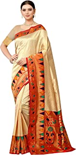 Freya crafts Women's Jacquard Banarasi Kanjivaram Silk Saree (FC56_Off White)