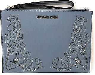 51fed9c2e9f4 Michael Kors Nouveau Floral Large Zip Clutch Leather Wristlet Purse in Pale  Blue