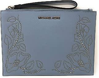 Michael Kors Nouveau Floral Large Zip Clutch Leather Wristlet Purse in Pale Blue