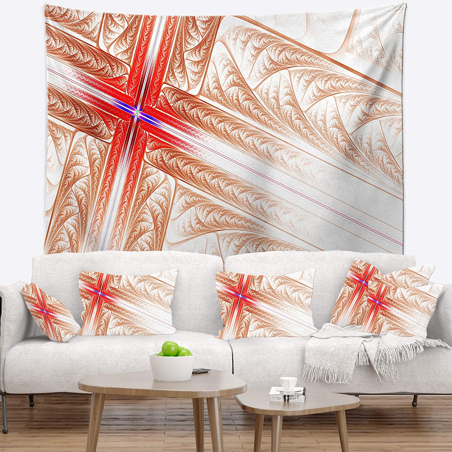 Designart 'Red Fractal Cross Design' D Abstract Blanket Tapestry San Jose Mall Be super welcome