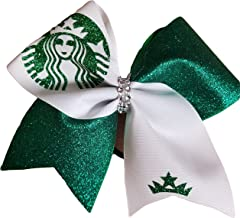 Cheer Bows White and Green Sparkly Coffee Shop Glitter Bling Hair Bow