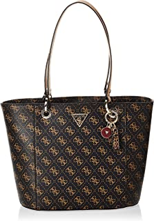 Guess Noelle Small Elite Tote Bag For Women, Brown Logo