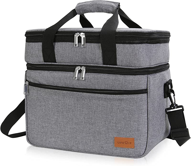 Lifewit Lunch Bag 23L 30 Can Insulated Thermal Soft Side Cooler Cooling With Large Pocket For Work Picnic Beach Grey