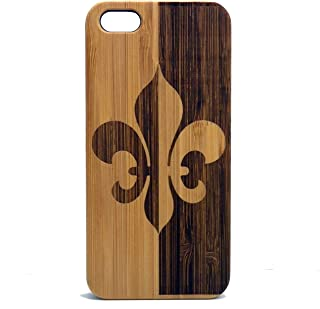 Fleur De Lis Case for iPhone 5, iPhone 5S or iPhone SE Case | iMakeTheCase Eco-Friendly Bamboo Wood Cover | French Heraldry Flower