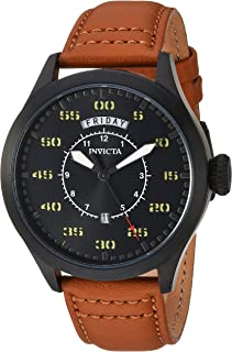 Invicta Men's Aviator Stainless Steel Quartz Watch with Leather Calfskin Strap, Brown, 22 (Model: 22974