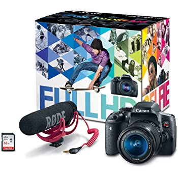 Canon EOS Rebel T6i Video Creator Kit with 18-55mm Lens, Rode VIDEOMIC GO and Sandisk 32GB SD Card Class 10 - Wi-Fi Enabled