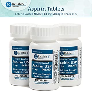 Aspirin Tablets, Low Dose 81mg, Enteric Coated NSAID by Reliable-1 Laboratories (3-Pack)