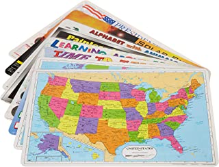 Painless Learning Educational Placemats for Kids USA and World Map, Time and Money, Alphabet, US Presidents, Solar System, Multiplication, 8 Pack