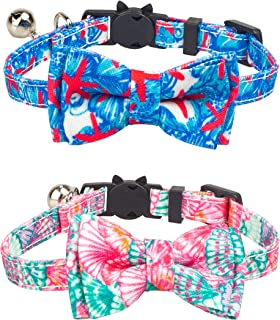 Gyapet Collar for Cats Pets Breakaway with Bell Bowtie Floral Bow Detachable Adjustable Safety Puppy