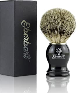 Eberbart Brocha de Afeitar de Cerdas de Tejón – Brocha de pelo natural de auténtico tejón para un afeitado profundo y agradable a la piel