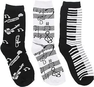 Women's Black White Music Notes, Piano Keys, Instruments Crew Socks, (3Pr) Size: 9-11