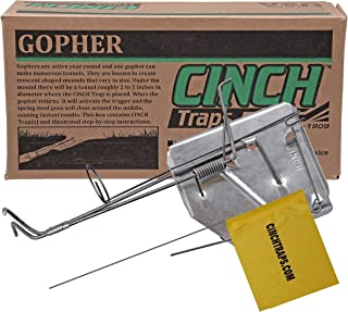 Cinch Gopher Traps with Tunnel Marking Flags|Heavy-Duty, Reusable Rodent Trapping System | Lawn, Garden, and Outdoor Use (Small-Single)