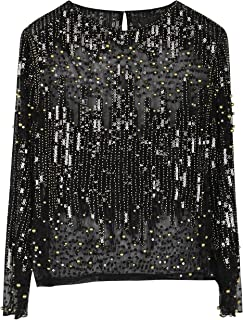 PrettyGuide Women's Sequin Blouse See Through Party Tops Beaded Sparkly Shirts