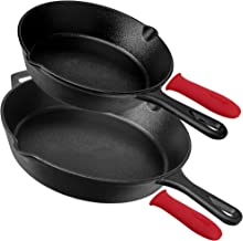 Pre-Seasoned Cast Iron Skillet Set (8-Inch and 12-Inch) Oven Safe Cookware - Heat-Resistant Holders - Indoor and Outdoor Use - Grill, Stovetop, Induction Safe