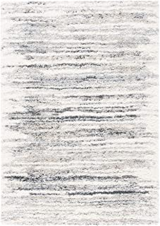 Safavieh Fontana Shag Collection FNT850A Modern Area Rug, 4' x 6', Ivory/Grey