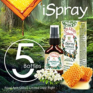 Official Distributor - 5 Bottles of Apiario Silvestre Brazilian Green Bee Propolis Spray Glycolic Extract-Non Alcoholic, Wax Free, Sugar Free