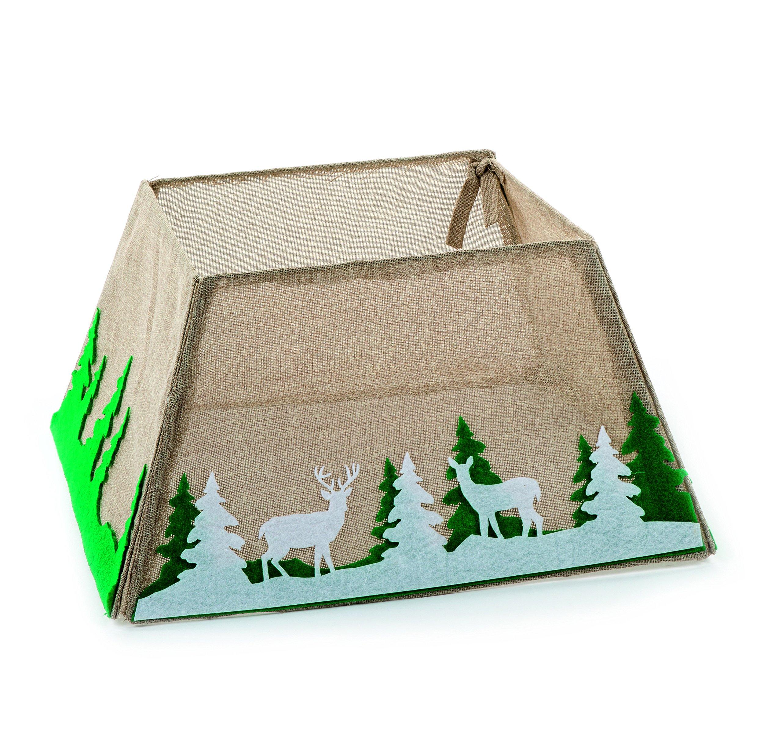 Árbol de Navidad falda tela caja falda del árbol del yute Natural estilo invierno Woodland: Amazon.es: Hogar